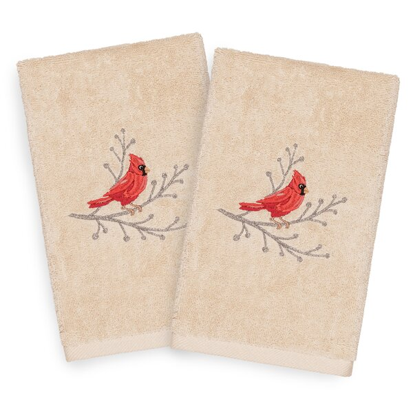 Beam Cardinal Embroidered Luxury 100% Turkish Cotton Hand Towel (Set of 2) by The Holiday Aisle